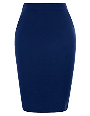 Kate Kasin Women's Stretchy Cotton Pencil Skirt Slim Fit Business Skirts