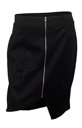 EVogues Plus Size Zipper Front Mini Skirt Black - 1X