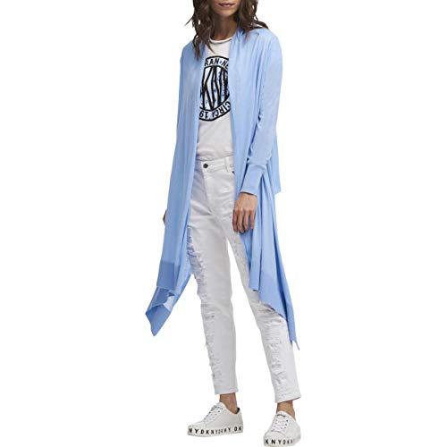 Dkny Cable - DKNY Womens Asymmetrical Hem Long Sleeves Cardigan Sweater Blue XS/S