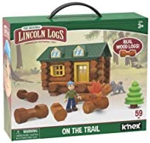 LINCOLN LOGS-On The Trail Building Set-59 Pieces-Real Wood Logs – Ages 3+ – Best Retro Building Gift Set for Boys/Girls-Creative Construction Engineering-Top Blocks Game Kit – Preschool Education Toy