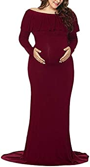 IWEMEK Women's Off Shoulder Maternity Dress Long Sleeve Pregnant Photo Shoot Maxi