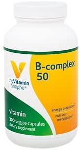 BComplex 50 – Supports Energy Production, Nervous System Function Nutrient Metabolism – Excellent Source of B1, B2, B6, B12, Niacin, Folic Acid Biotin (300 Veggie Caps) by The Vitamin Shoppe