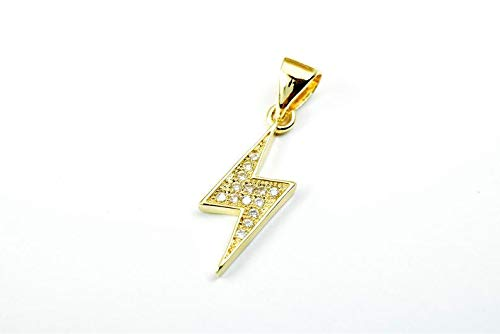 (Jewelry Making Supplies Lightning Bolt Rhinestone Charm Pendant 14K Gold Filled Size 18 5x7mm Micro Pave Beads Charm with Clear CZ Cubic Zirconia)
