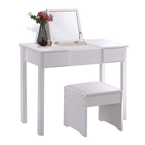 Giantex Bathroom Vanity Dressing Table with Flip Top Mirror 2 Drawers 3 Removable Organizers, White ()