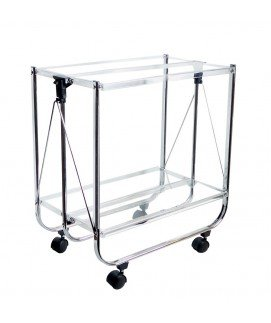 Jd Diffusion T305 Table Roulante Pliante Transparente Metal + Plastique