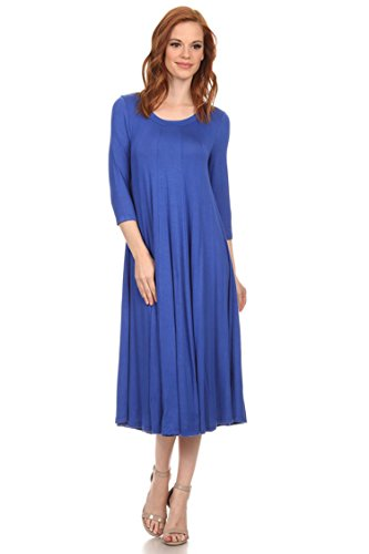 Womens Casual Solid & Print 3/4 Sleeve A-line Midi Dress/Made in USA