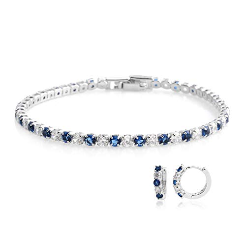 Blue White CZ Cubic Zirconia Eternity Bridal Tennis Bracelet Huggie Earrings Jewelry Set for Women Classic Jewelry 7.5