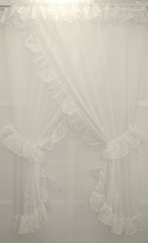 - Extra Full Ninon Priscilla Sheer Ruffled Curtain 190x63 White