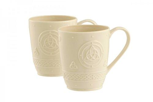 Irish Belleek Pottery Celtic Design Mugs (set of 2)
