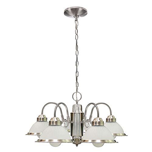 5-Light Traditional Chandelier Down Light, Metal and Glass Ceiling Light Fixture, Adjustable Chain 5 Light Hanging Fixture, Vintage Pendant Light for Dining Room Living Room Foyer Nickel