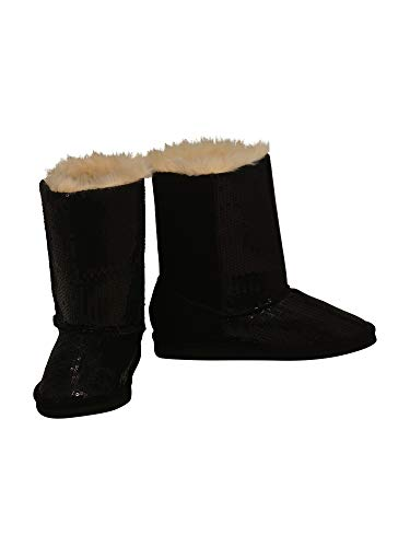 L'Amour Little Girls Black Sequin Embellished Faux Fur Carol Boots 9 Toddler