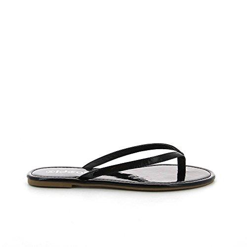 Ideal Shoes, Damen Zehentrenner Schwarz - Schwarz