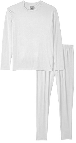 9M Clothing Company Men's Ultra-Soft Micro-Fleece Lined Thermal Base Layer Top & Legging Set, White, (Micro Fleece Thermal)