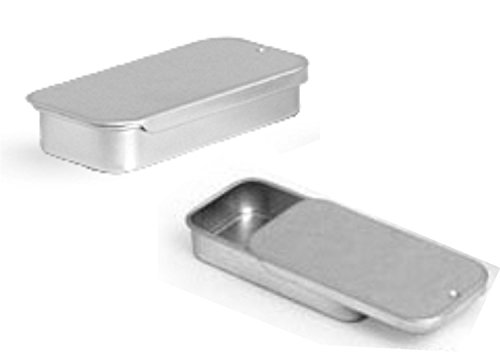 Trash Cache - Metal Slide Top Tin Containers (Small) for Crafts Geocache Storage Survival Kit (Pack of 3)