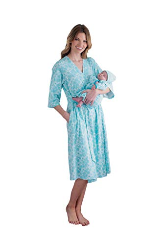Baby Be Mine Mommy & Me Delivery Robe with Matching Baby Receiving Gown & Hat Set (S/M pre Pregnancy 2-10, Celeste)