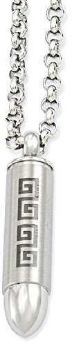 IceCarats Stainless Steel Greek Key Design Bullet Pendant Necklace