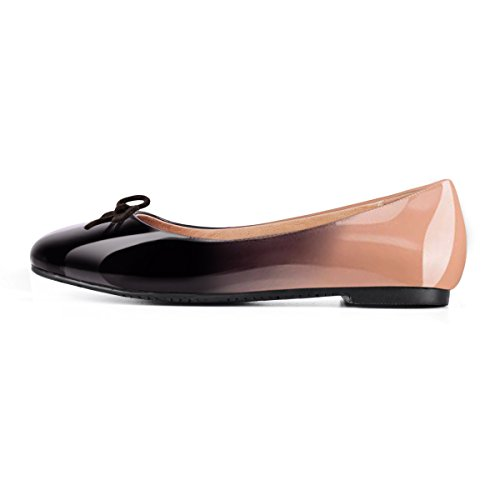Onlymaker Women Round Toe Ballet Flats with Bowknot Slip On Classic Dress Shoes-Black to Nude-8