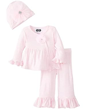 Mudpie Infant Girl's Take Me Home Set (3-6M, Pink/White)