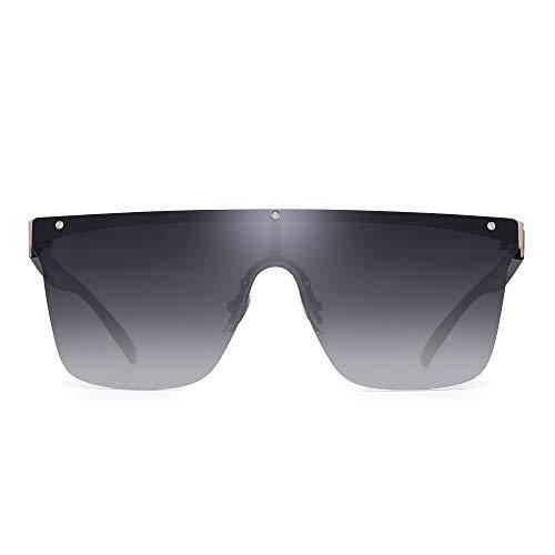 JIM HALO Rimless Shield Sunglasses One Piece Flat Top Mirror Glasses Women Men (Gold Frame/Gradient Grey Lens) (Rimless Sunglasses Shield Womens)