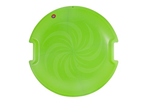 Winter Snow Sled, Round Down Hill Plastic Saucer Disc, For Playing in Snow & Sand, Green- By SportAmaze