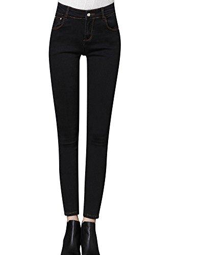 Femme Denim Printemps Jeans Slim Taille Haute Crayon Noir