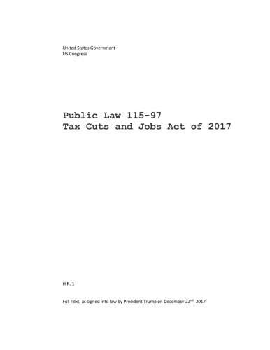 Public Law 115 97 Tax Cuts And Jobs Act Of 2017