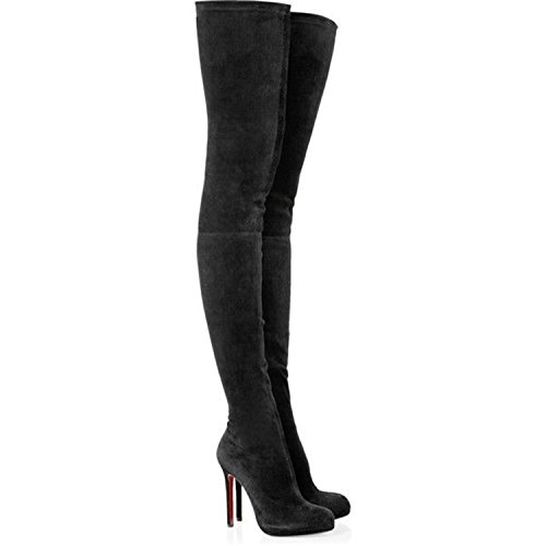 Ladies Boots Round Dormery High Shoes Knee The Autumn Women Thigh Platform Heel Stretch High Black Spring New Suede Black Over Toe CC7nPZx