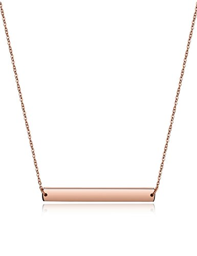 Engravable Rose (Wistic Bar Necklace Stainless Steel Gold Plated Adjustable with Engravable Bar Pendant(16Inch+2) (free engraving(rose gold)))