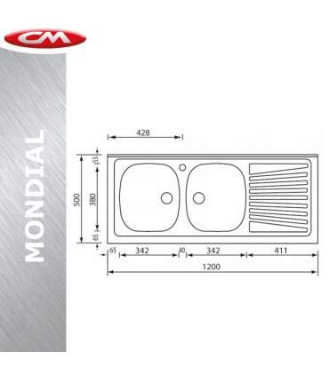 CM A magazzino CM serie Mondial art.031032XCMSX 120x50 Sinistro Lavello acciaio inox con 2 vasche