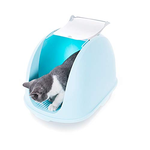 PETMAOSHP Pet Cat Litter Tray Toilet Box, Hooded Flip Cat Litter Tray,Ergonomic Litter Shovel (Size: 22.0 15.4 16.5Inch)