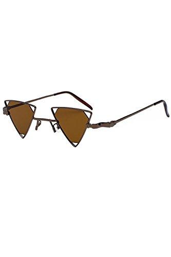 Pour Femmes Zinmuwa Uv400 Métallique De Triangle Brown Mode Lunettes qrqpztIn