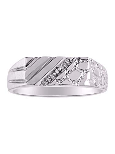 Rylos Mens Classic Genuine Diamond 1/2 Nugget Ring Set in Sterling Silver .925