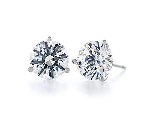 Acacia Collection Premium Quality Simulated Diamond CZ Martini 3 Prongs Sterling Silver Hypoallergenic Stud Earrings Round 3.00 Carat (ctw) Ideal Cut 7.5mm Flat on Ear, Elegant, - Prong Martini Studs 3