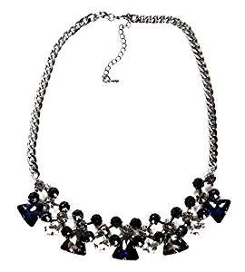 Calonice Amorino Women s Jewelry Statement Piece Necklace with Blue White  Gemstones Varied Sizes on Silver Chain Statement Necklace Blue White Blue  white ... 372624968e06