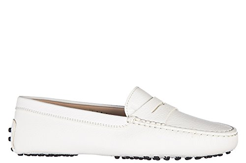 Tod's Damen Leder Mokassins Slipper gommini Weiß
