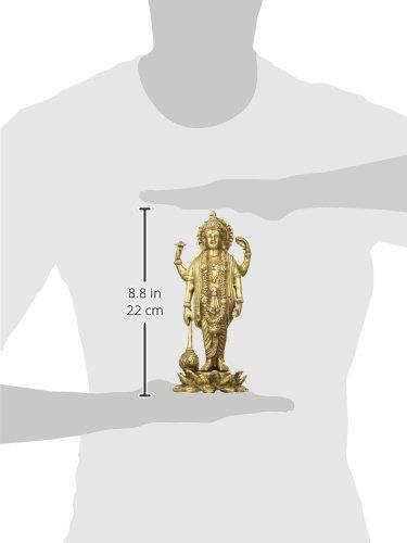 Idol Collections Lord Vishnu Standing Height 6 Brass Statue Golden Anonymous Artist VZM504