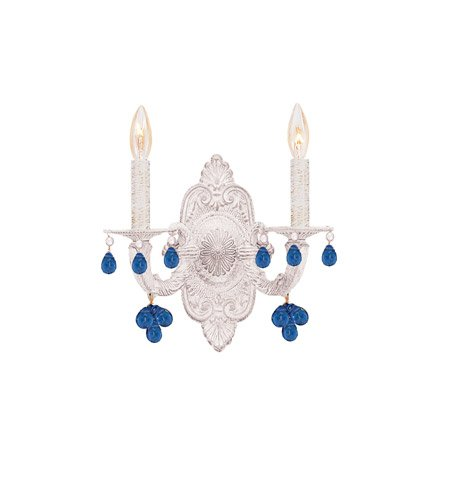 Antique White Blue Murano Crystal - Wall Sconces 2 Light with Antique White Murano Blue Crystal Wrought Iron 11 inch 120 Watts - World of Lighting