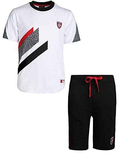 Enyce Boys' 2 Piece Athletic Themed French Terry Short Set, White/Black, Size 4' ()
