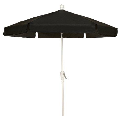 FiberBuilt Umbrellas Garden Umbrella, 7.5 Foot Black Canopy and White Pole (Fiberbuilt)