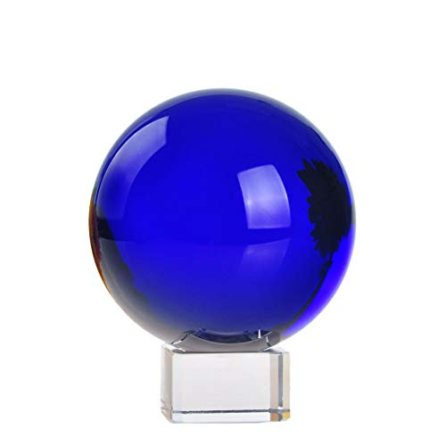 H&D 100mm Crystal Sphere Meditation Ball Stand Art Decor K9 Crystal Prop Magic Crystal Healing Ball Photography Home Decoration (sapphire blue) -