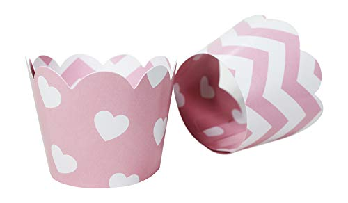 (Pink Hearts/Chevron Cupcake Wrappers for Valentines,Baby or Bridal Showers, Weddings, Bachelorette, Princess or Girl Birthday Party. Set of 24 Reversible, Adjustable Cup Cake Holder Wraps. White, Pink)