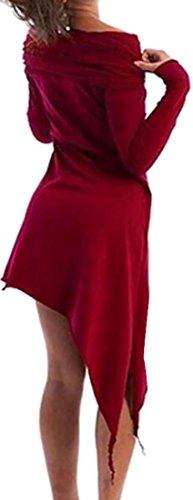 Cruiize Manches Longues Casual Capuche Mince Solide Robe Irrégulière Vin Rouge Des Femmes