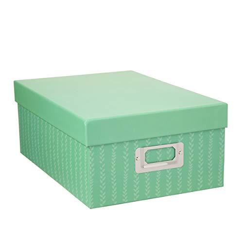 Darice 30032653 Decorative Photo Storage Box, Stripes, Green