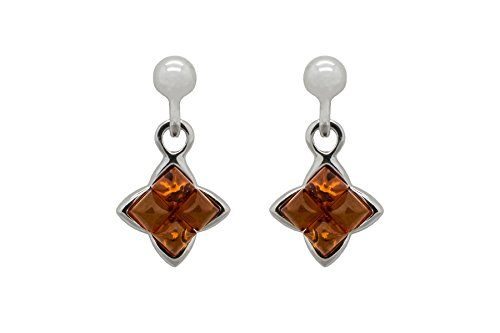 Amber Sterling Silver Stud Post - 6