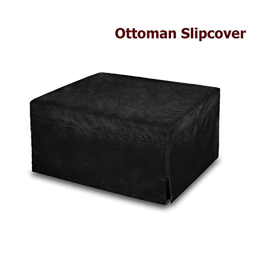 (SPACE INNOVATIONS Ottoman Slipcover, Sofa Slipcovers, Protector Covers, Oversized, Microfiber, Black)