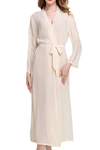 Asherbaby Womens Sexy Sheer Bridal Sleepwear Lace Lingerie Long Kimono Robes Champagne
