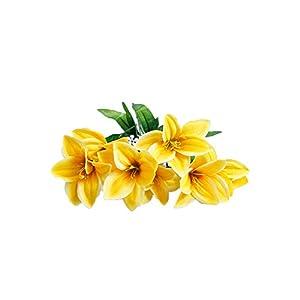 Smart Sense Artificial Yellow Petunia Bush Silk Petunia Flowers (15 inch) for Wedding Decor - 6 Flower Bush(1pc Yellow) 93
