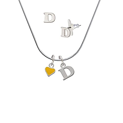 3ef74cb43a83 Mini Two Sided Yellow Heart - D Initial Charm Necklace and Stud Earrings  Jewelry Set durable