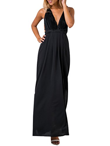 Berrygo Women's Sexy Sleeveless Backless Deep V Neck Split Satin Long Party Dress Gown Balck (Black Maxi Dress For Tall Women)
