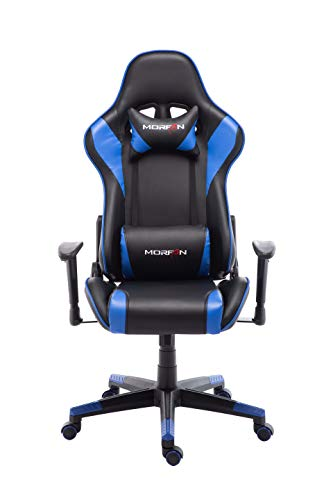 Morfan Computer Desk Chair Racing Style Game Office Chair with Massage Lumbar Pillow Support and Free Headrest F Series (Black/Blue) …